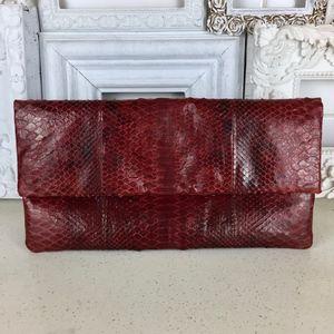 Vintage Presmer Burgundy Snake Foldover Clutch Bag